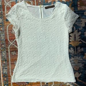 The Limited Cream Lace Top with Zipper